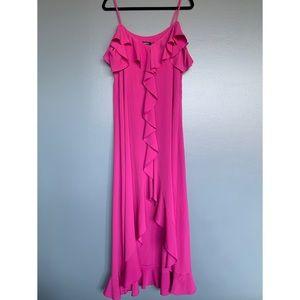 Cold Shoulder Ruffle Front Maxi Dress